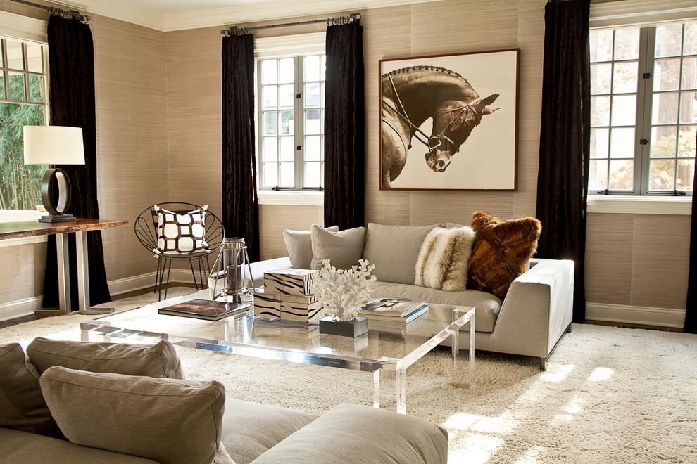 Elegant-lucite-coffee-table-in-Living-Room-Transitional-with-Lucite-Chandelier-next-to-Lucite-Table-alongside-Angled-Couch-andOval-Chandelier-