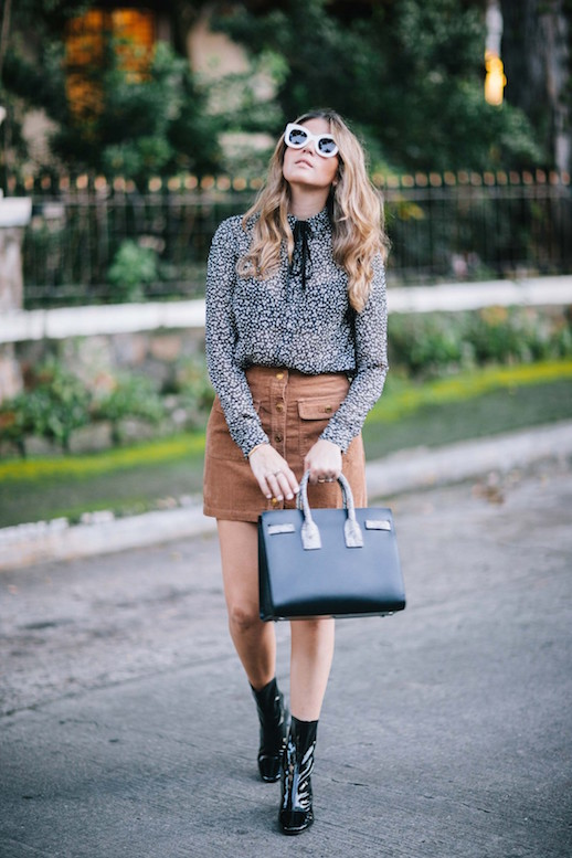 le-fashion-blog-cat-eye-sunglasses-neck-tie-blouse-suede-mini-skirt-patent-sock-boots-via-a-constellation-journal