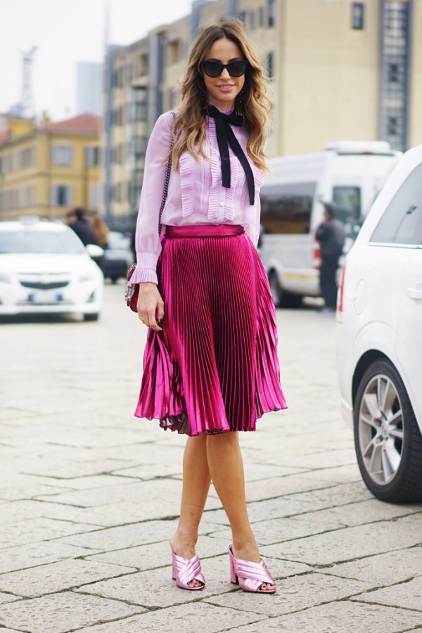 criss-cross-mules-metallic-skirt-pink-blush-pink-tie-neck-blouse-pleated-skirt-knee-skirt-pink-spring-party-shower-www