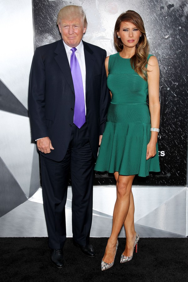 Mandatory Credit: Photo by Marion Curtis/StarPix/REX/Shutterstock (5627700e) Donald Trump and Melania Trump 'The Dark Knight Rises' film premiere, New York, America - 16 Jul 2012