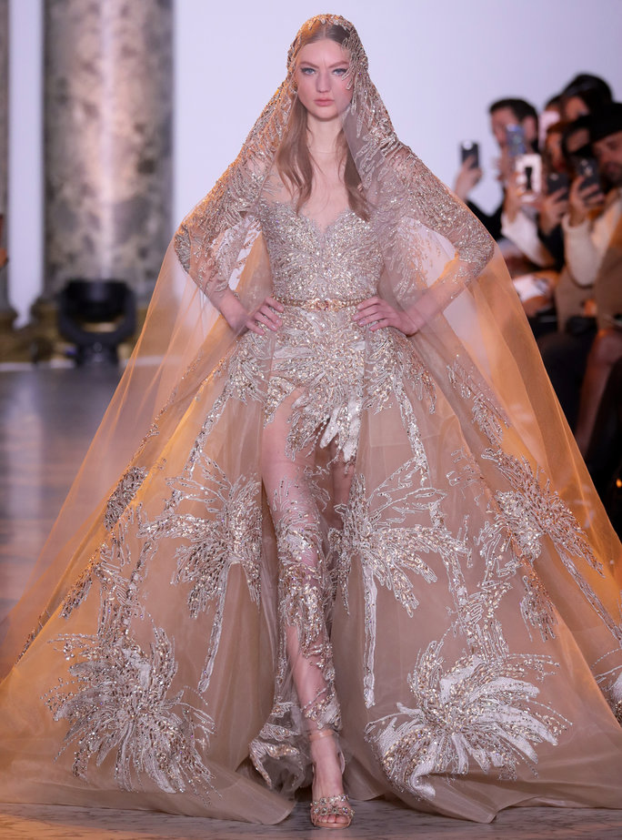 PARIS, FRANCE - JANUARY 25: A model walks the runway during the Elie Saab Haute Couture Spring Summer 2017 show as part of Paris Fashion Week on January 25, 2017 in Paris, France. (Photo by Antonio de Moraes Barros Filho/WireImage)