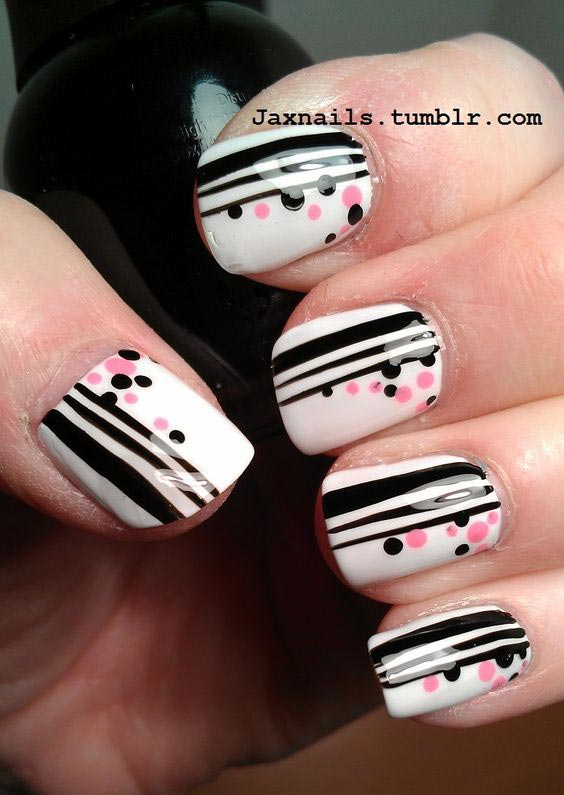 Perfectly-combined-stripes-and-dots-nail-design-1