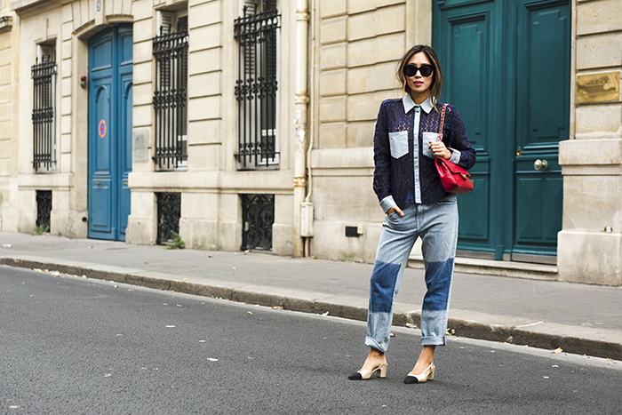 aimee_song_of_style_sister_jane_denim_blouse_two_tone_boyfriend_jeans_chanel_two_tone_slingbacks