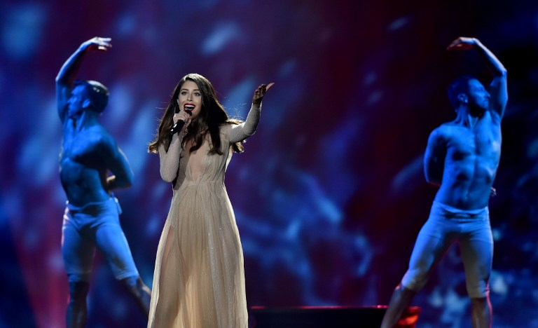 Greece's Demy performs during the first semi-final rehearsal for the Eurovision Song Contest in Kiev on May 8, 2017.  The Eurovision Song Contest 2017 will be held in the Ukrainian capital from May 9 to 13. / AFP PHOTO / SERGEI SUPINSKY