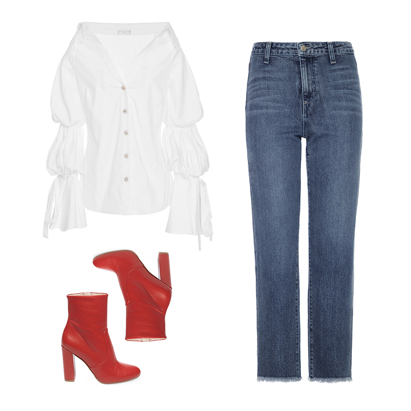 street-style-outfit-statement-blouse-jeans-red-boots