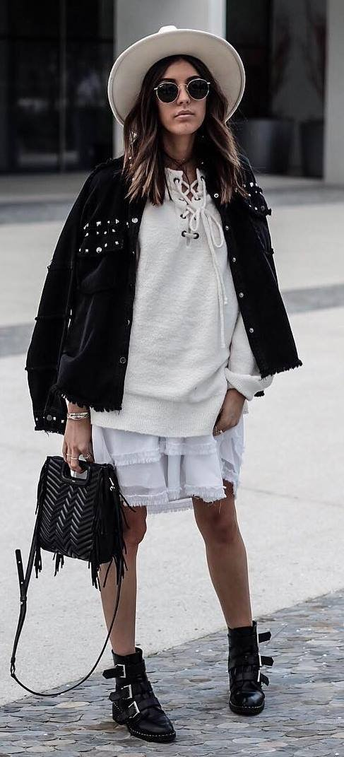 how-to-style-a-white-hat-bag-plus-biker-jacket-plus-lace-up-sweater-plus-white-skirt-plus-boots