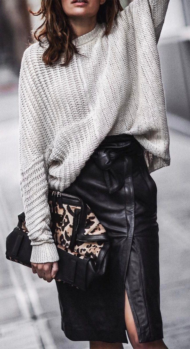 incredible-fall-outfit-sweater-plus-bag-plus-leather-skirt
