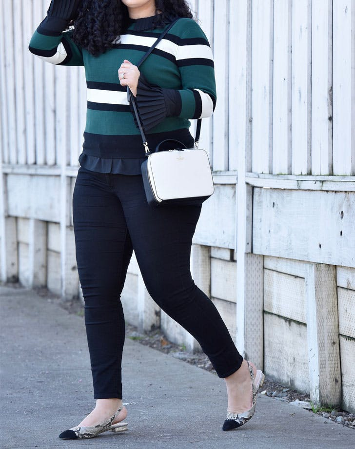 slingback_flats_striped_sweater_work_outfit_idea