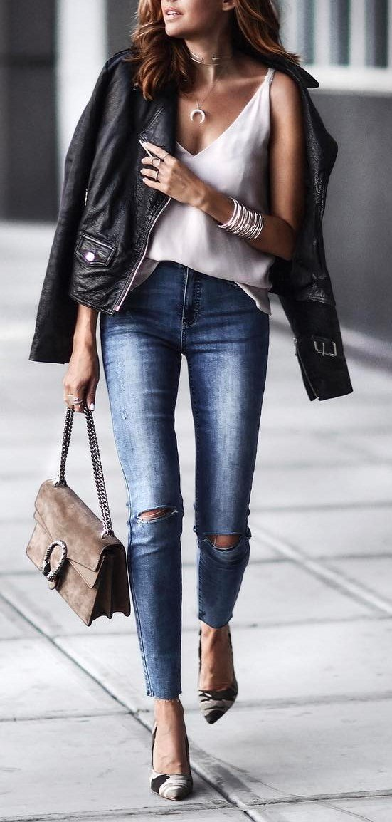 trendy-fall-outfit-jacket-plus-white-top-plus-bag-plus-skinny-jeans-plus-heels