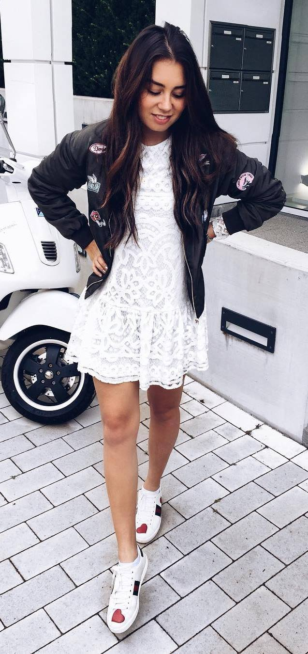 what-to-wear-with-a-bomber-jacket-white-lacer-dress-plus-sneakers