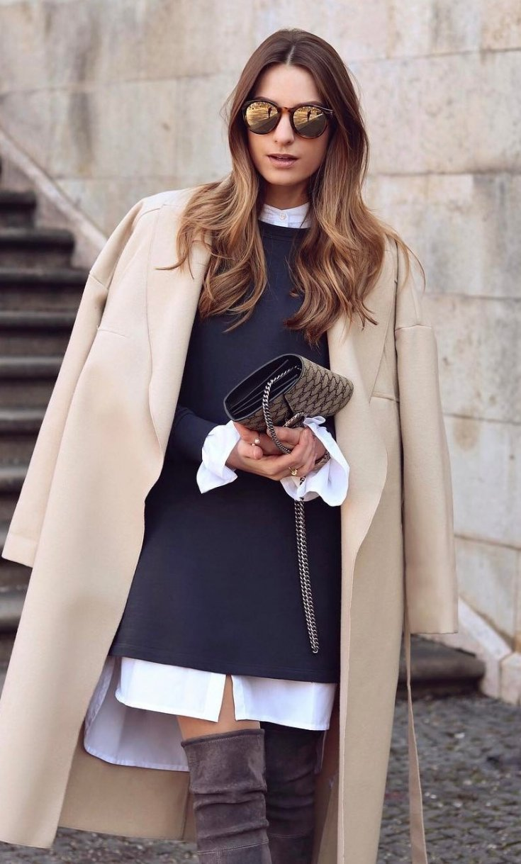 what-to-wear-with-a-nude-cashmere-coat-dress-plus-over-the-knee-boots-plus-bag