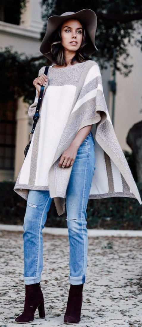 what-to-wear-with-a-poncho-hat-plus-bag-plus-boots-plus-ripped-jeans
